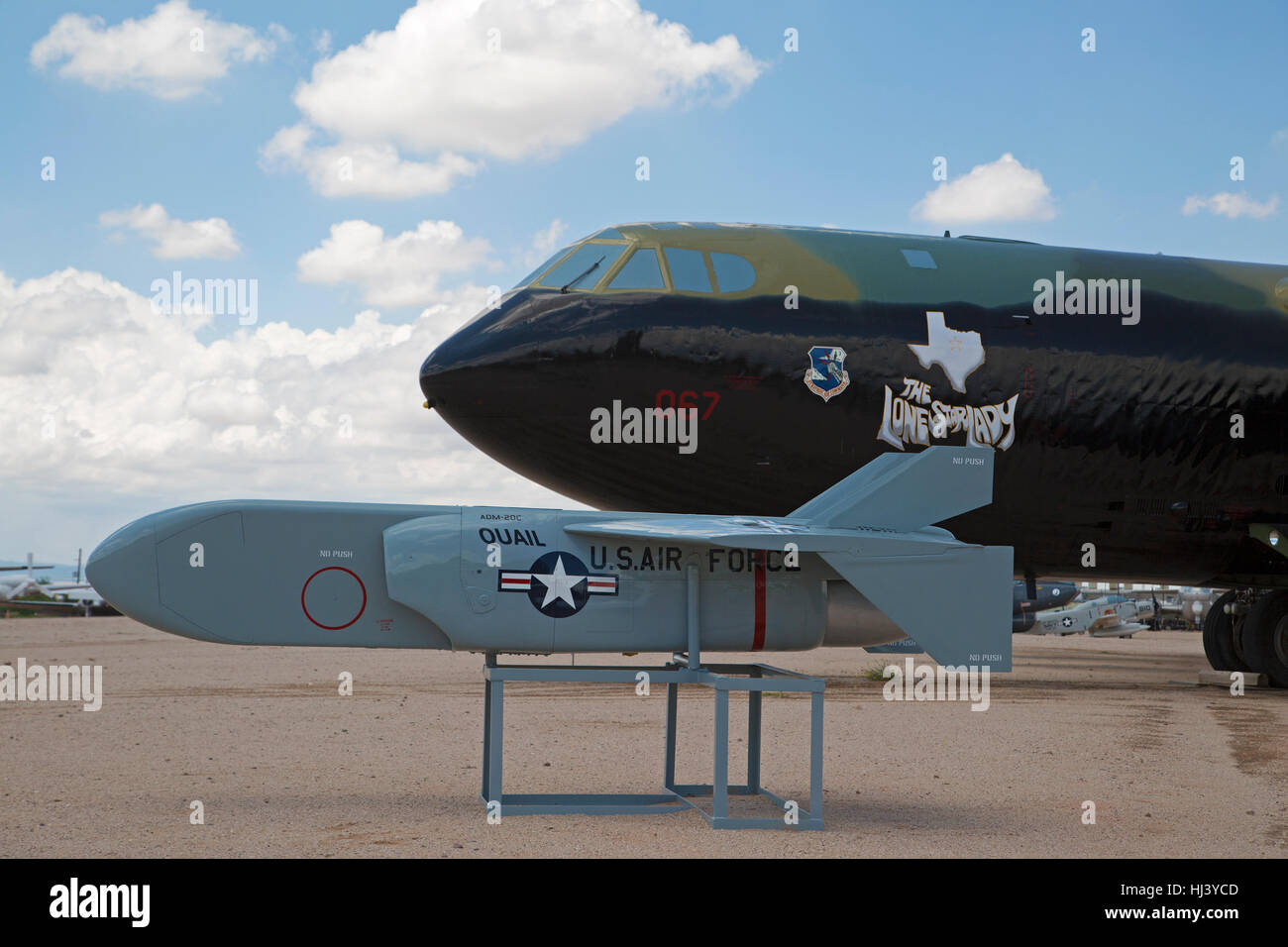 MC Donnell ADM - 20C Quail decoy missile in front of  Boeing B-52D Stratofortress Bomber on display at Pima Air - Stock Image