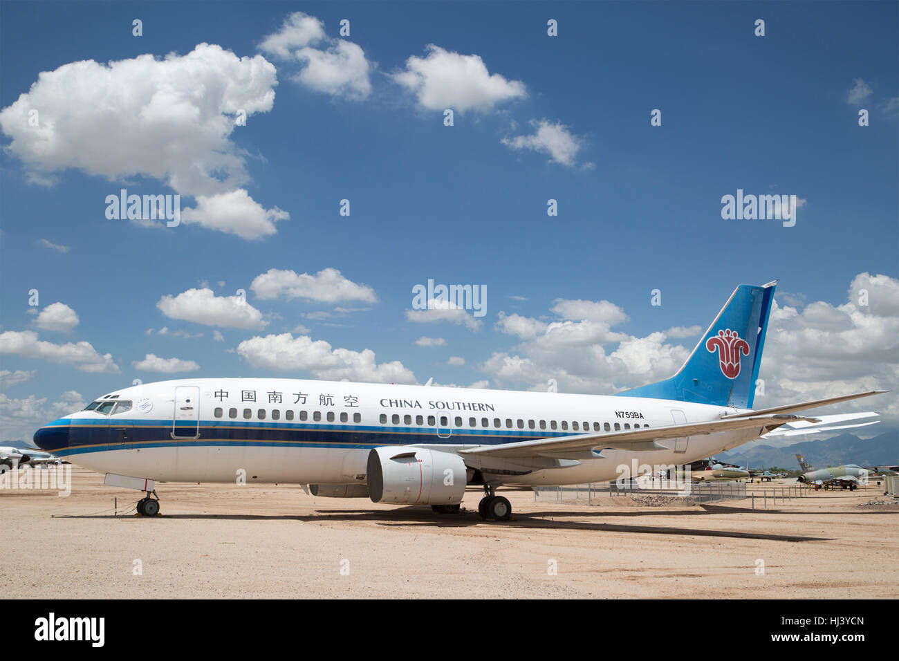 China Southern Boeing 737-300 airliner (1984-1999) on display at Pima Air & Space Museum - Stock Image