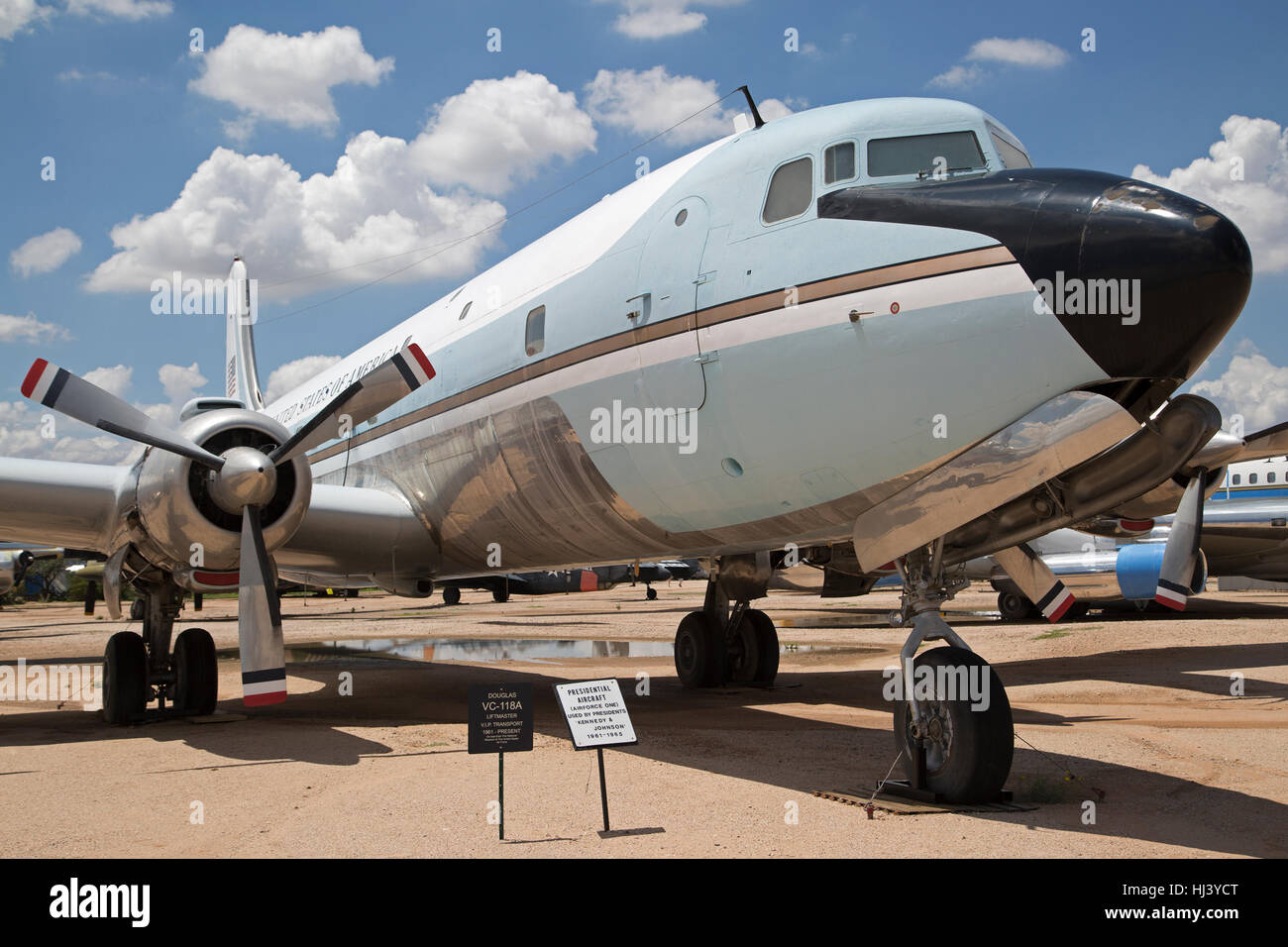 Airforce One, former presidential aircraft used by presidents Kennedy and Johnson 1961-1965 display at Pima Air - Stock Image