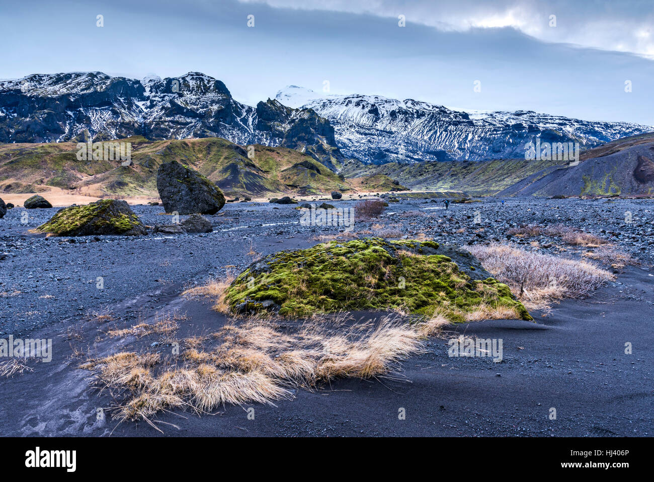 Wilderness mountain countryside in Iceland during a stormy afternoon shows the barren look of a volcanic landscape - Stock Image