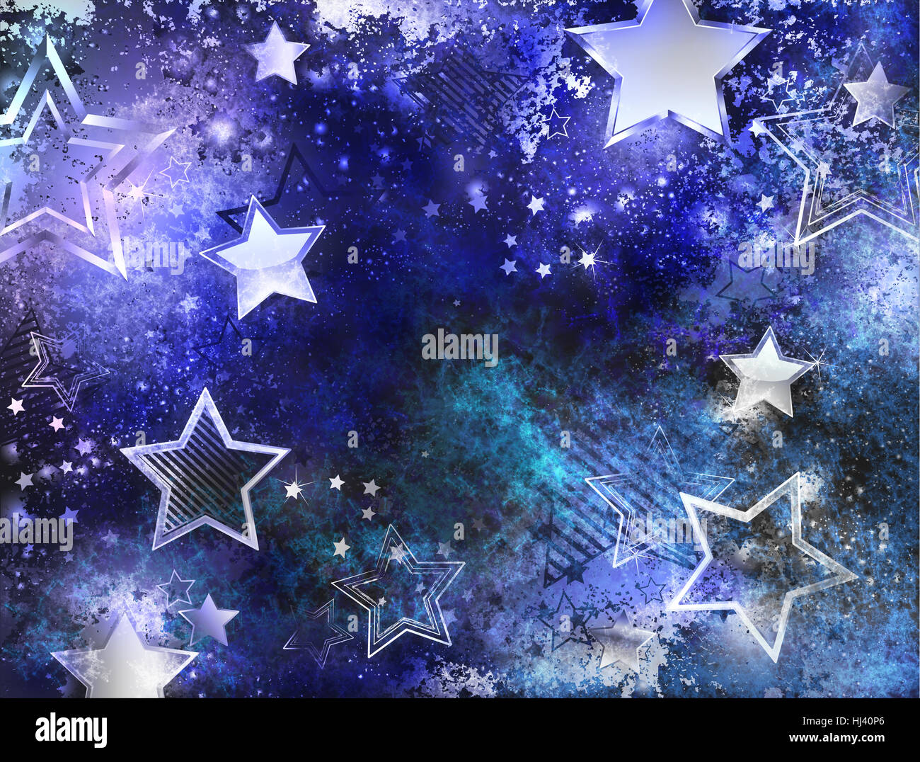 space blue background with  stars - Stock Image