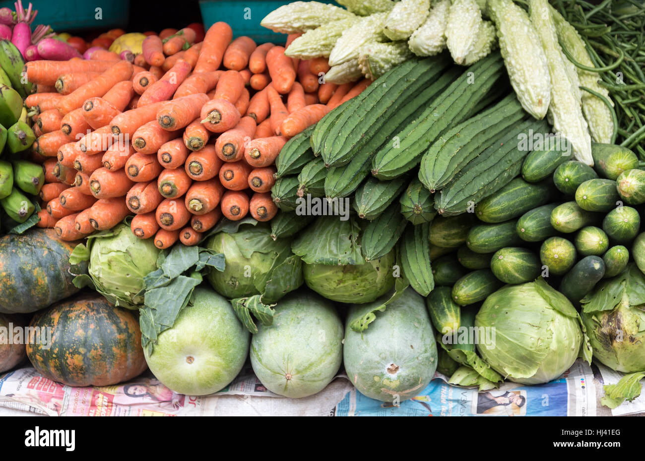 Fresh vegetables arranged at Fort Kochin market, Cochin ...Kerala Vegetable Market
