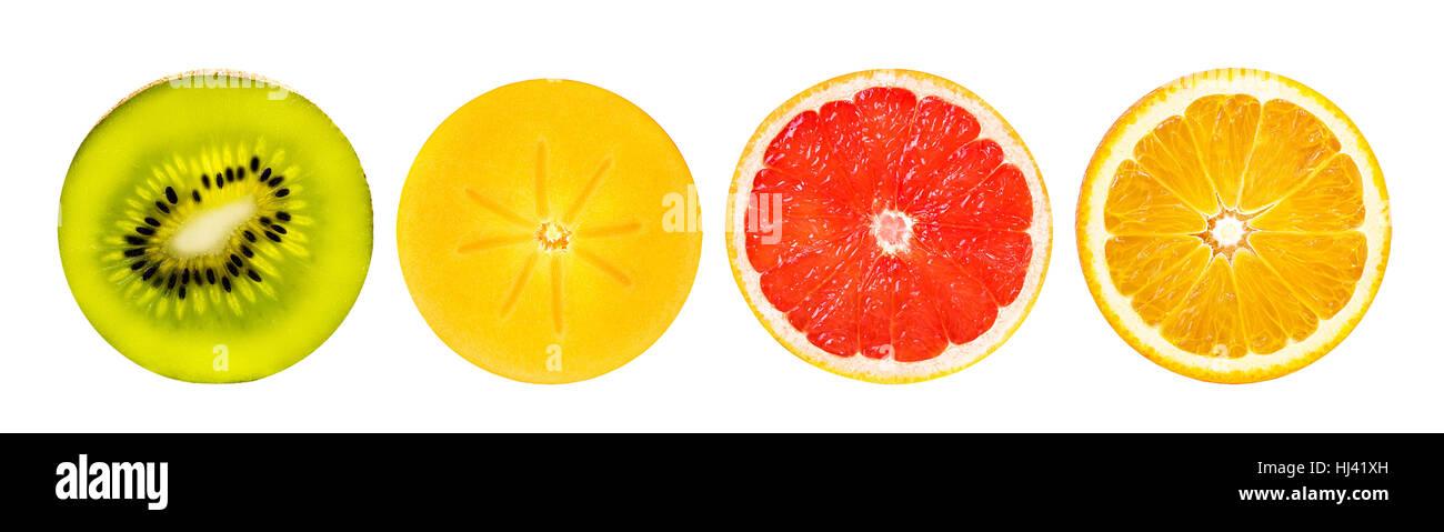 orange, kiwi, grapefruit, persimmon  isolated on white background - Stock Image