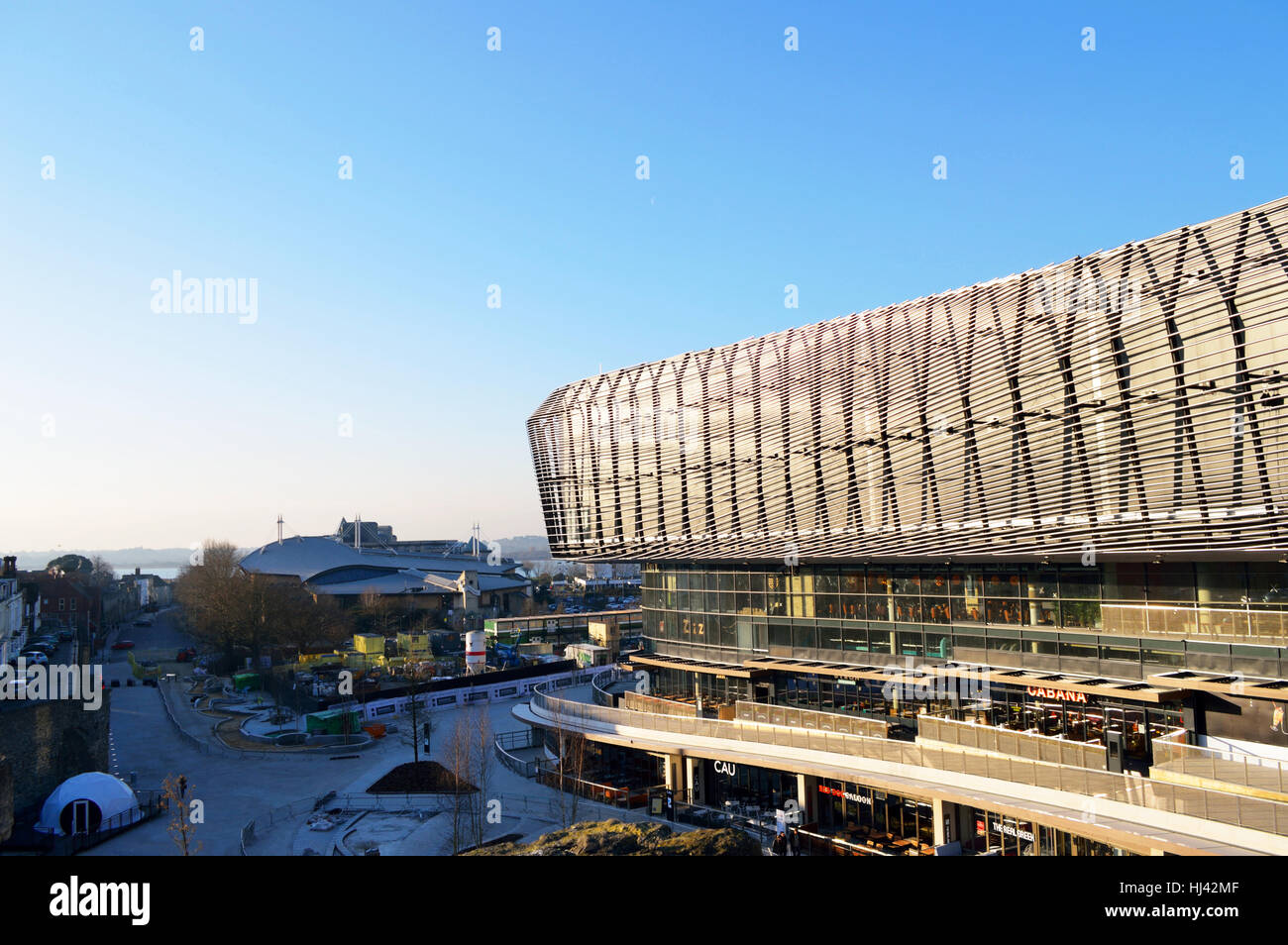 View over Southampton with the new extension to Westquay to the right, Southampton, UK, 2017 - Stock Image