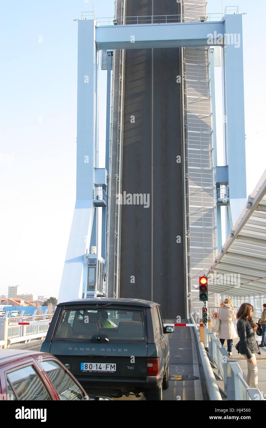 Bascule bridge over the entrance to Leixões port in Porto district, Portugal Stock Photo
