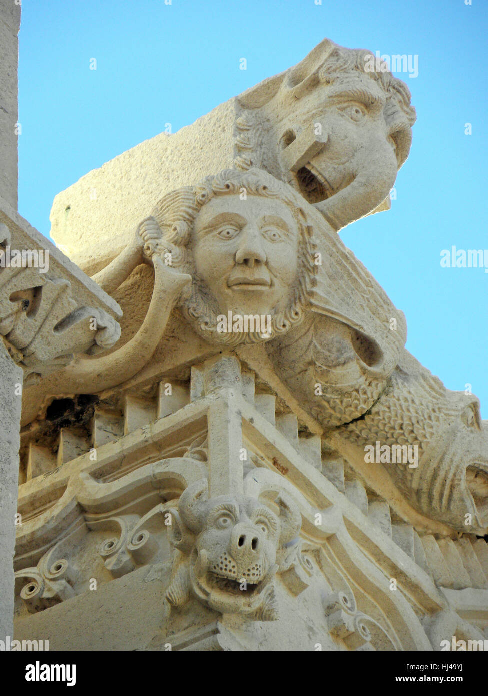 Korcula ancient artwork and craftmanship details,Croatia,Europe,8 - Stock Image