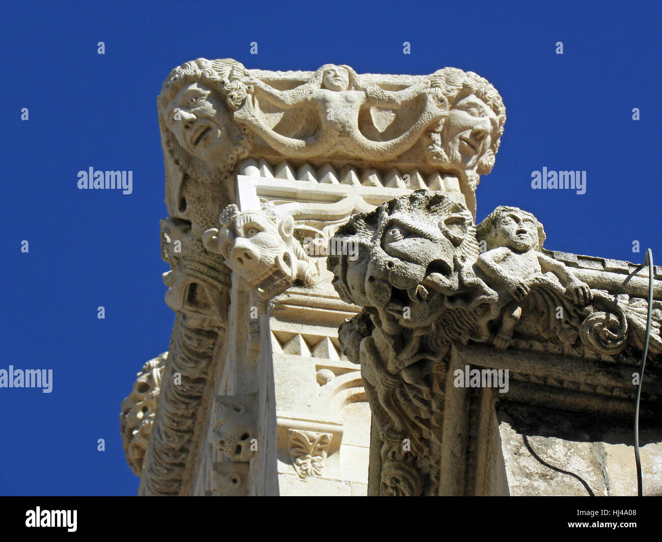Korcula ancient artwork and craftmanship details,Croatia,Europe,13 - Stock Image