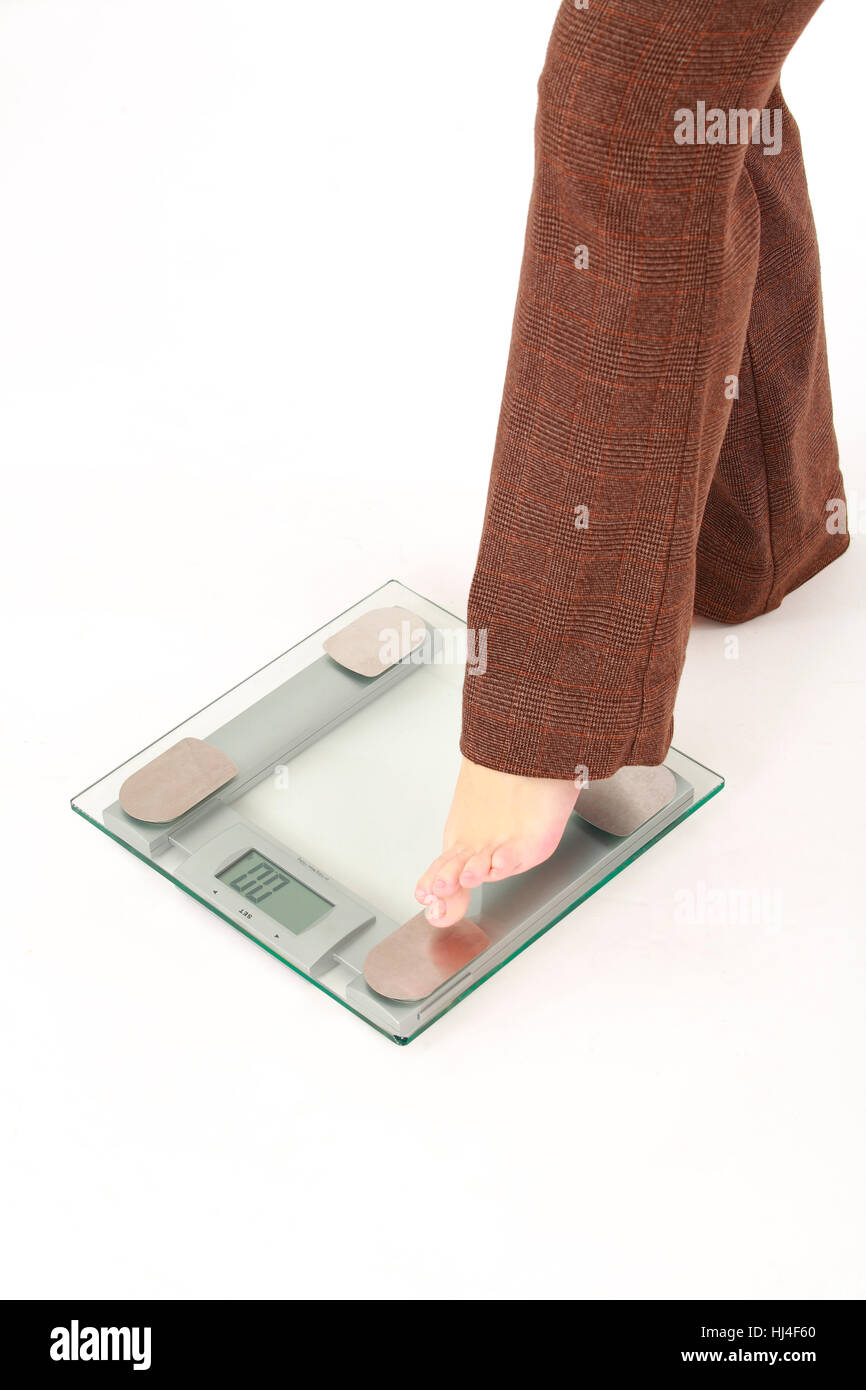 Female wont use the scale - Stock Image