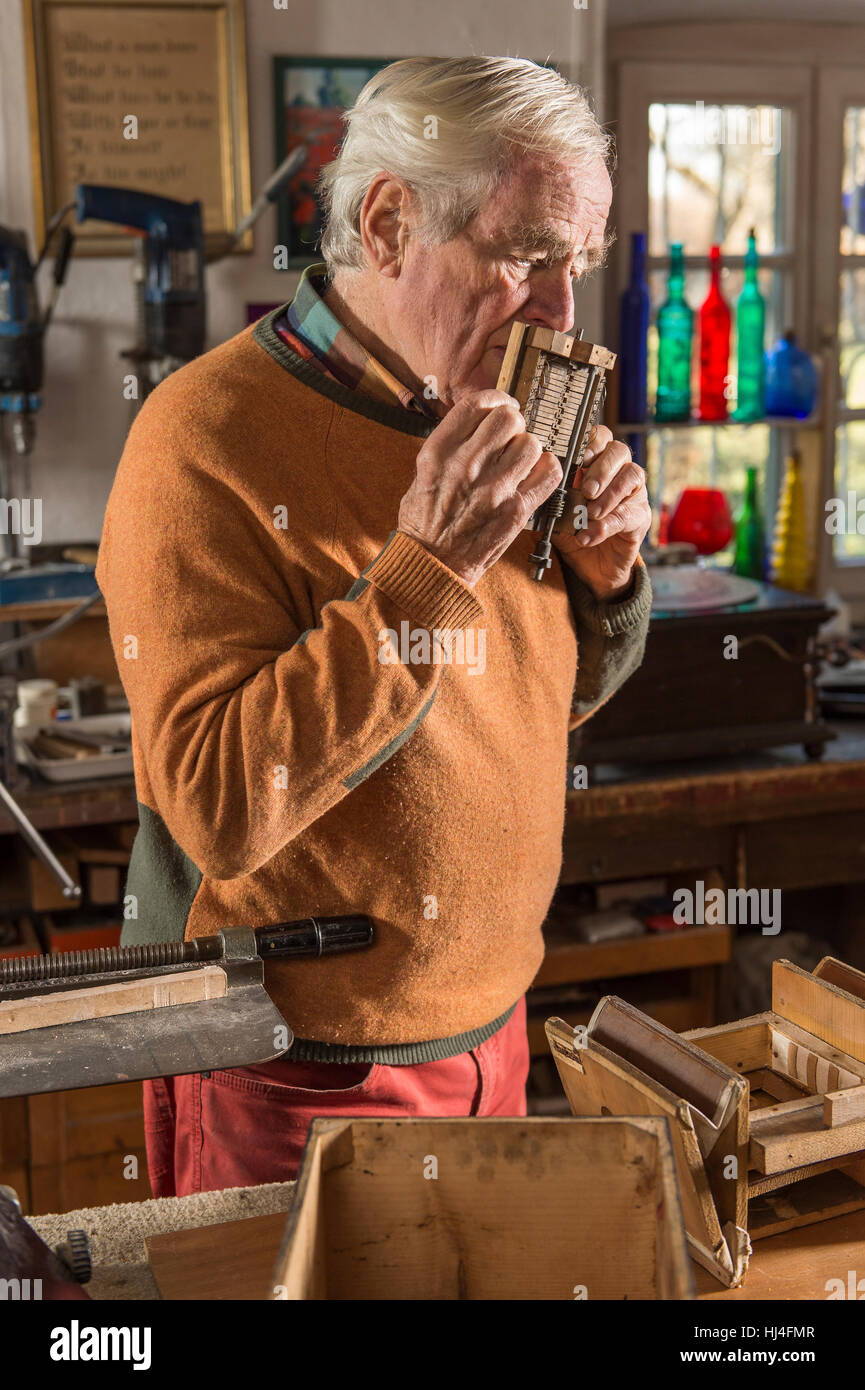 Barrel organ builder, workshop, man blowing into sound post, checking tones with his mouth, Grassau, Upper Bavaria, - Stock Image