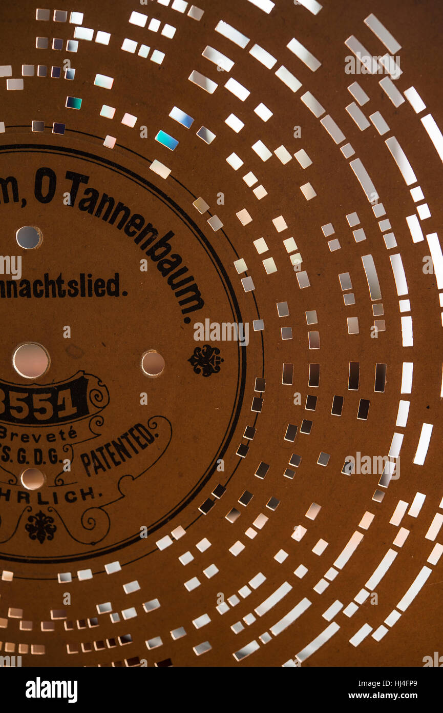 Barrel organ, perforated disk with the song O Tannenbaum, Grassau, Upper Bavaria, Bavaria, Germany - Stock Image