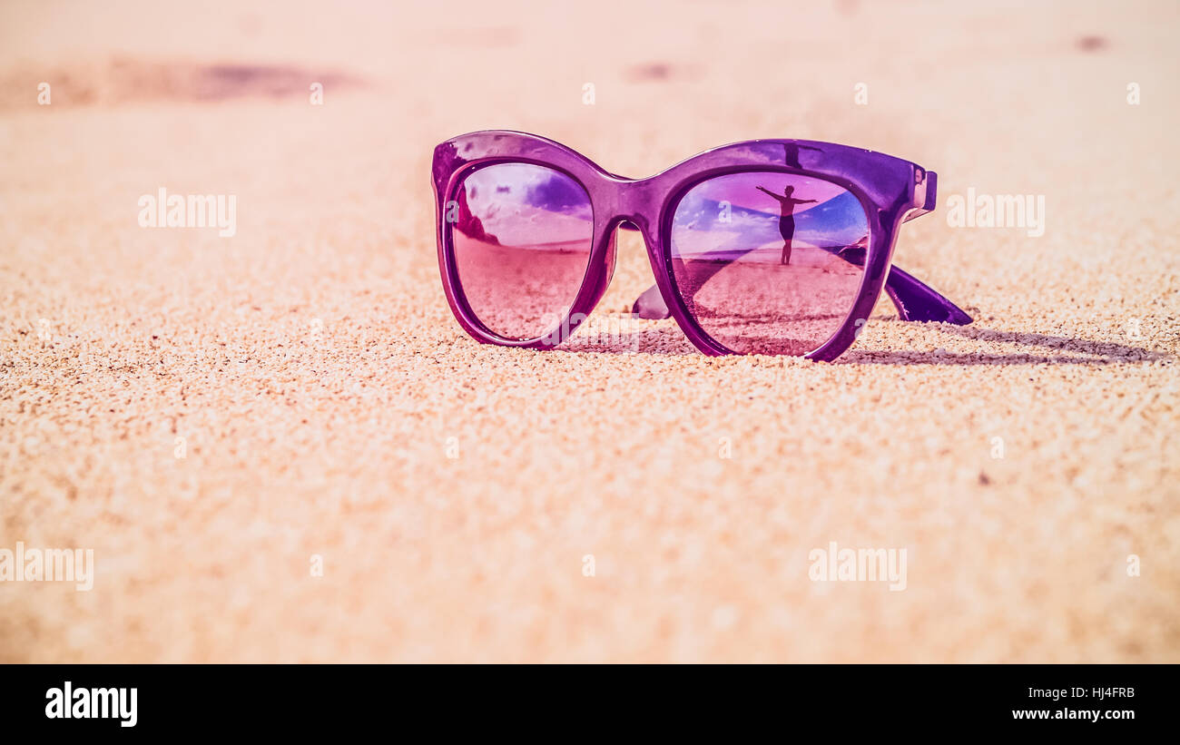 af4f306a41 Happy Beautiful Girl Reflecting in Sunglasses on Sand Beach, Bali - Stock  Image