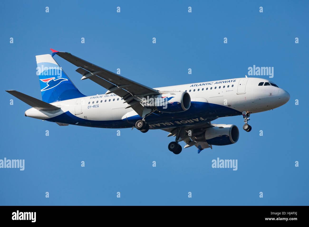 Atlantic Airways Airliner in flight, airplane, plane, blue sky - Stock Image