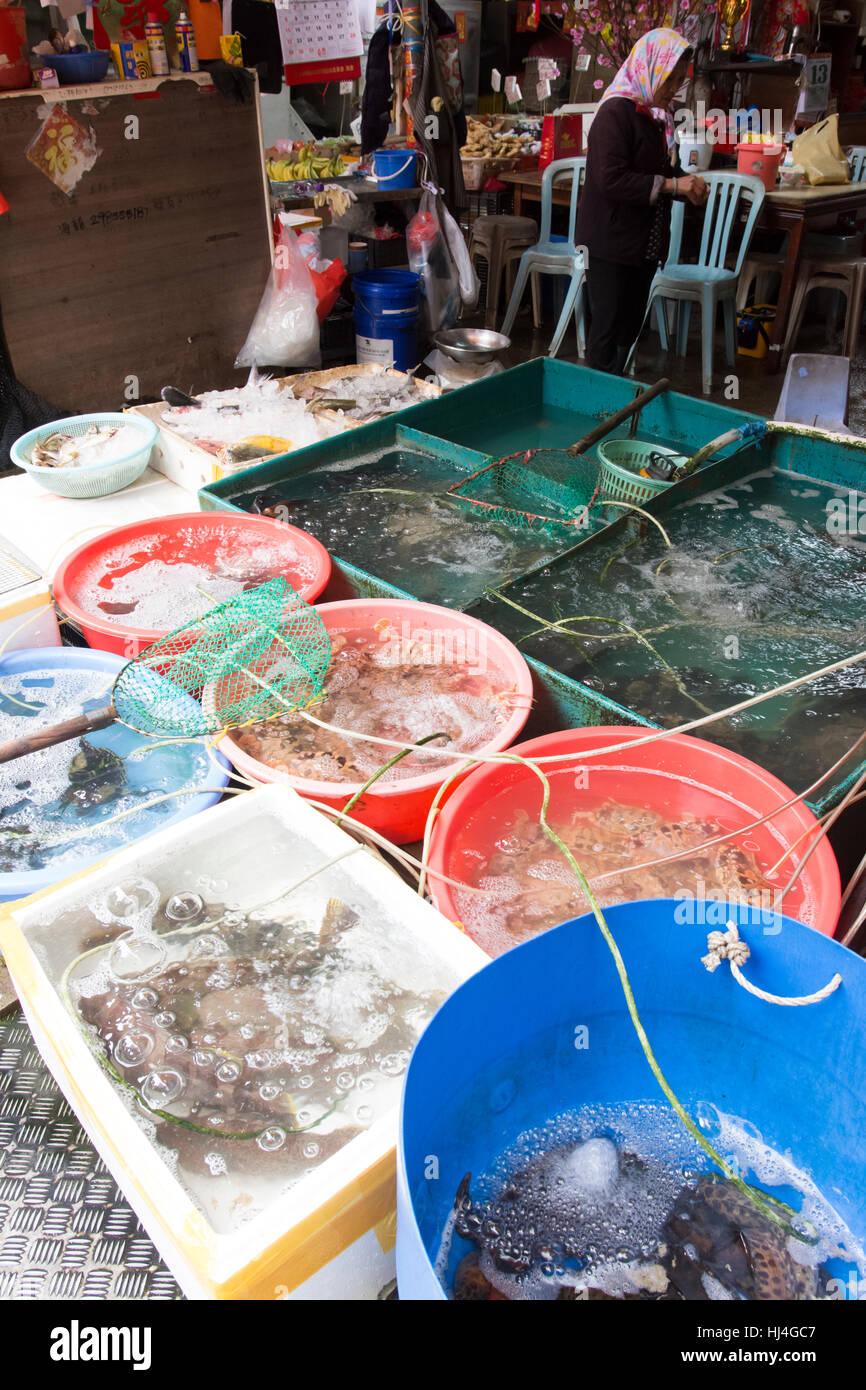The fresh fish market in the village of Tai O, Hong Kong - Stock Image