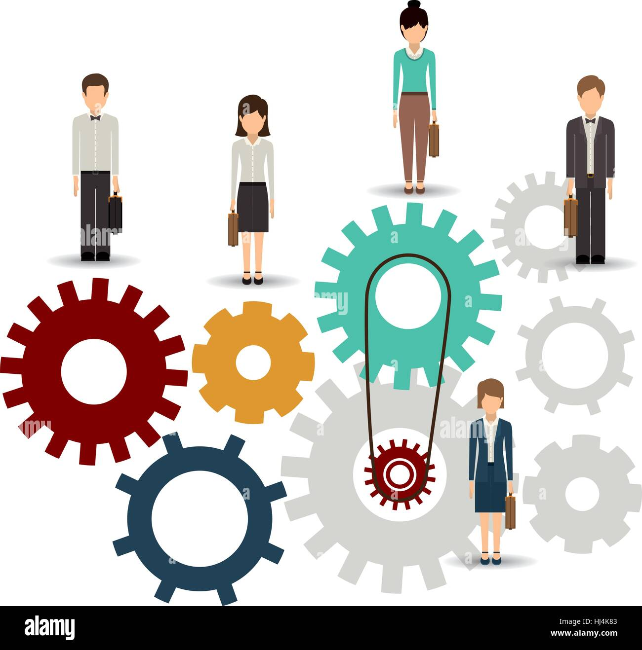 gear and businesspeople icon teamwork people corporate and