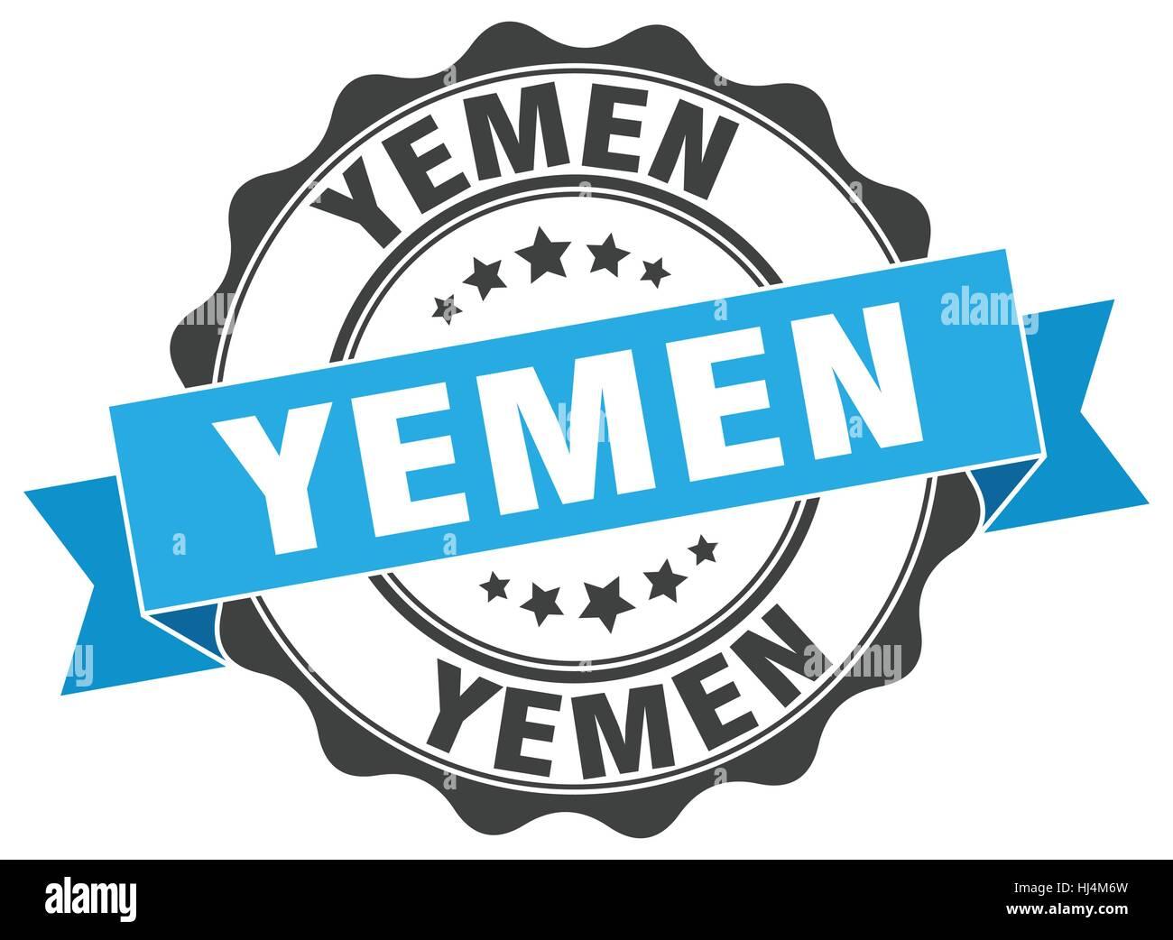 Yemen round ribbon seal - Stock Image