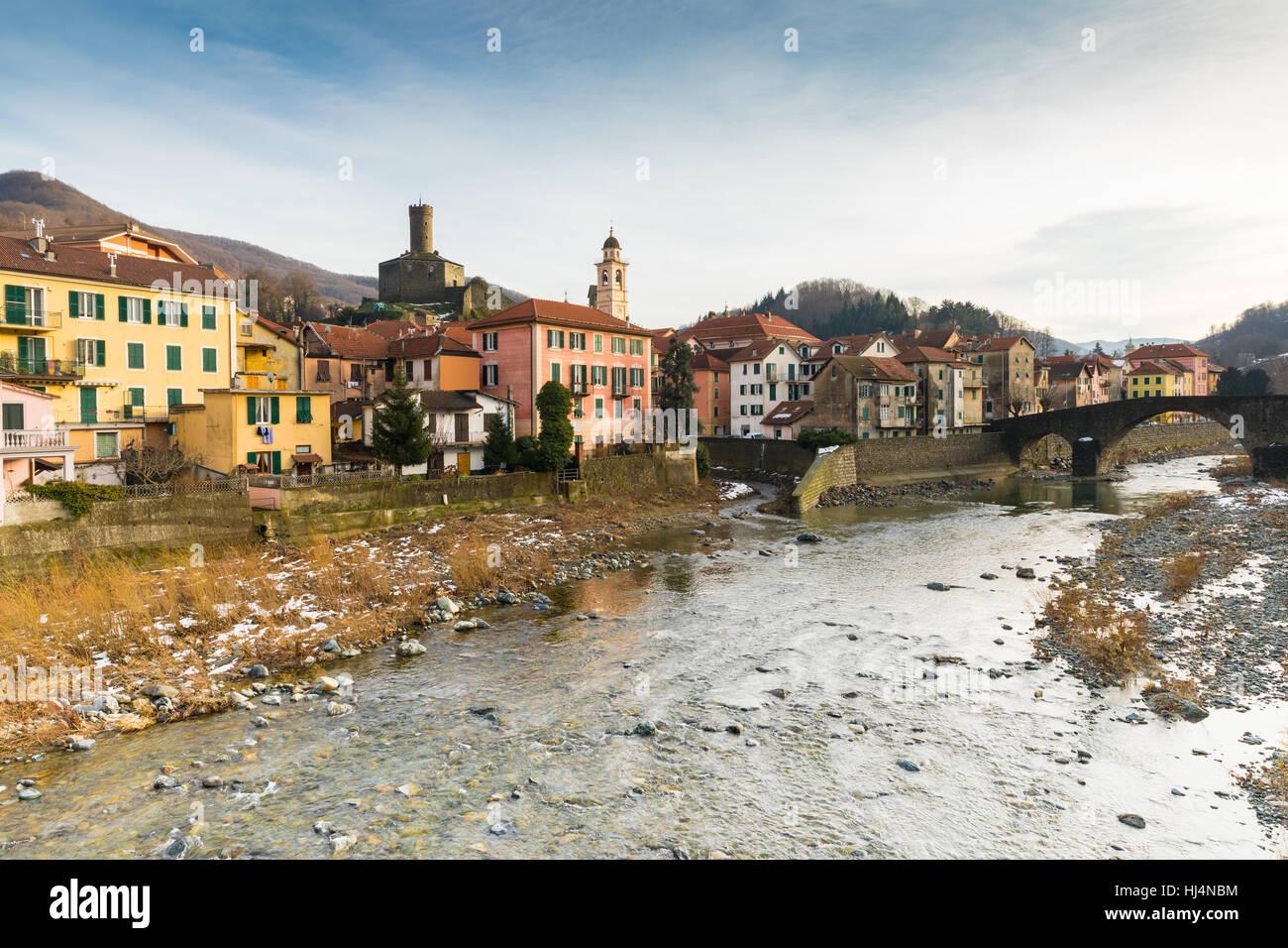 The village of Campo Ligure Genova Italy Stock Photo