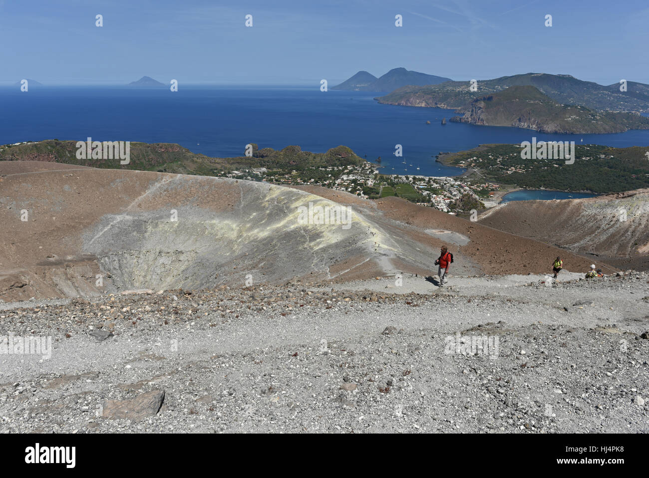 View from the Gran Cratere on Vulcano of several of the other Aeolian Islands, including Lipari, Salina, Filicudi Stock Photo