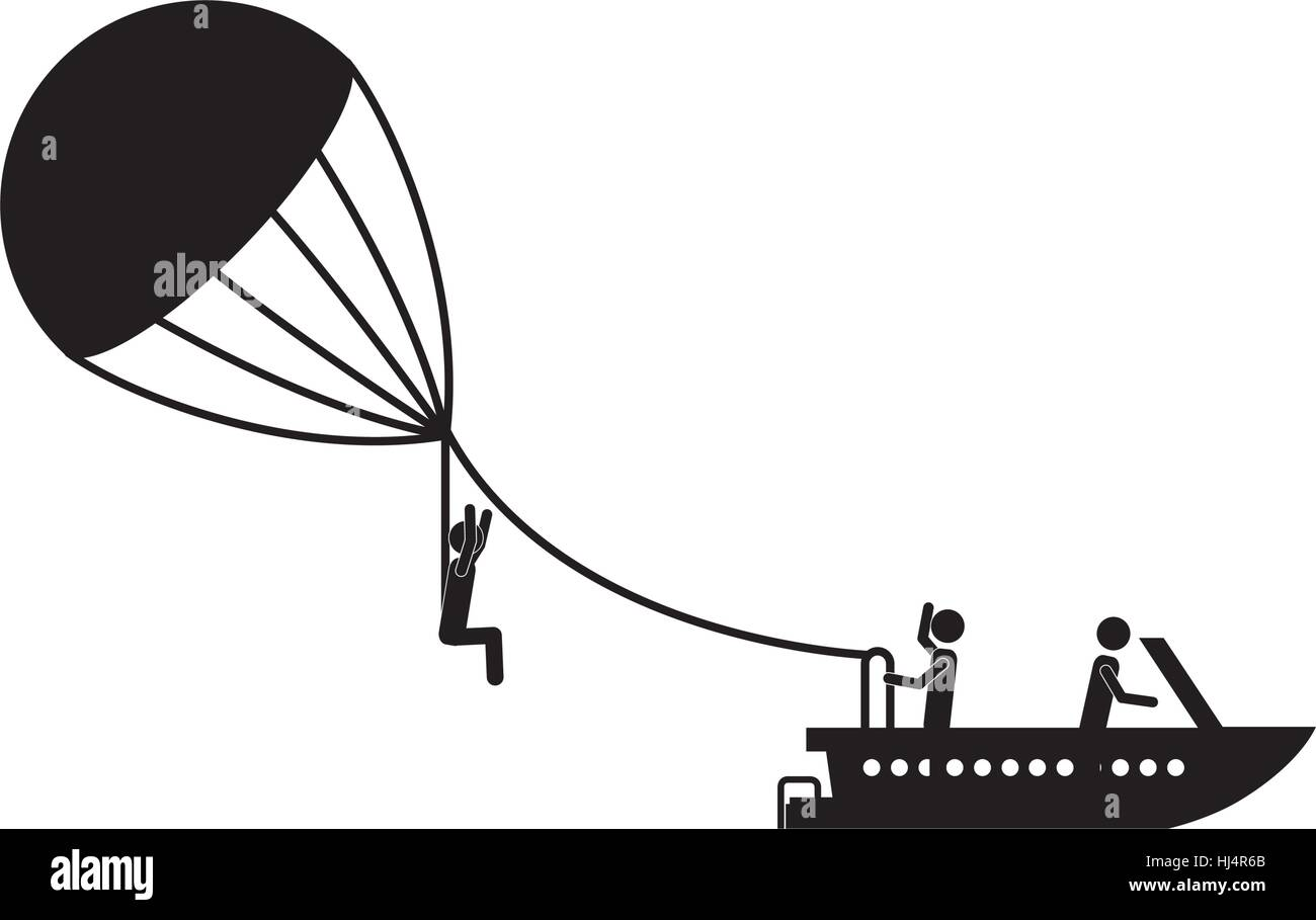 Parasailing extreme sport icon vector illustration graphic design - Stock Image
