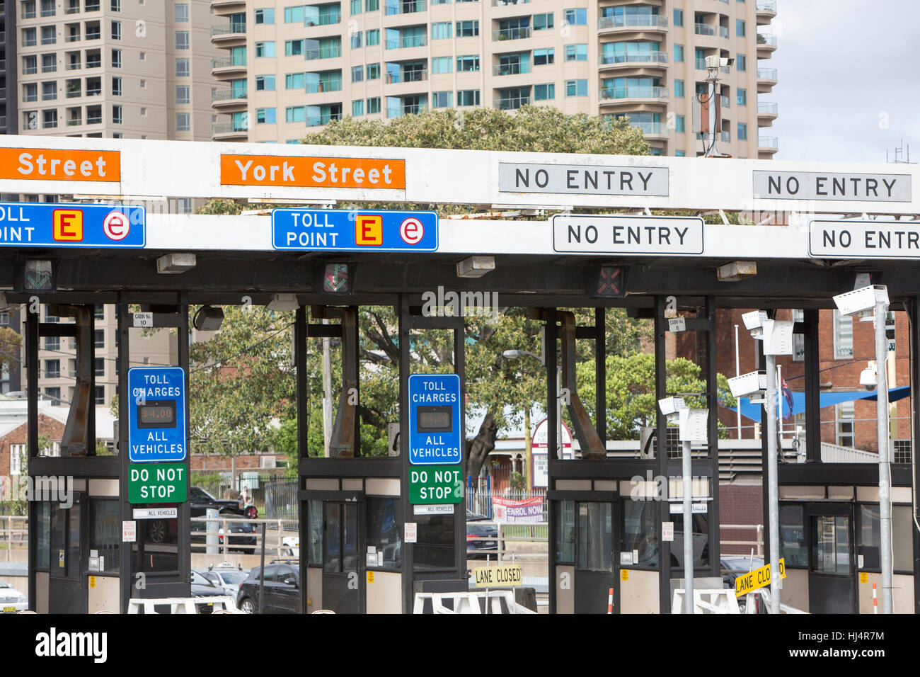 Cash toll booths at Southern end of Sydney Harbour Bridge, were removed in January 2017,Australia - Stock Image