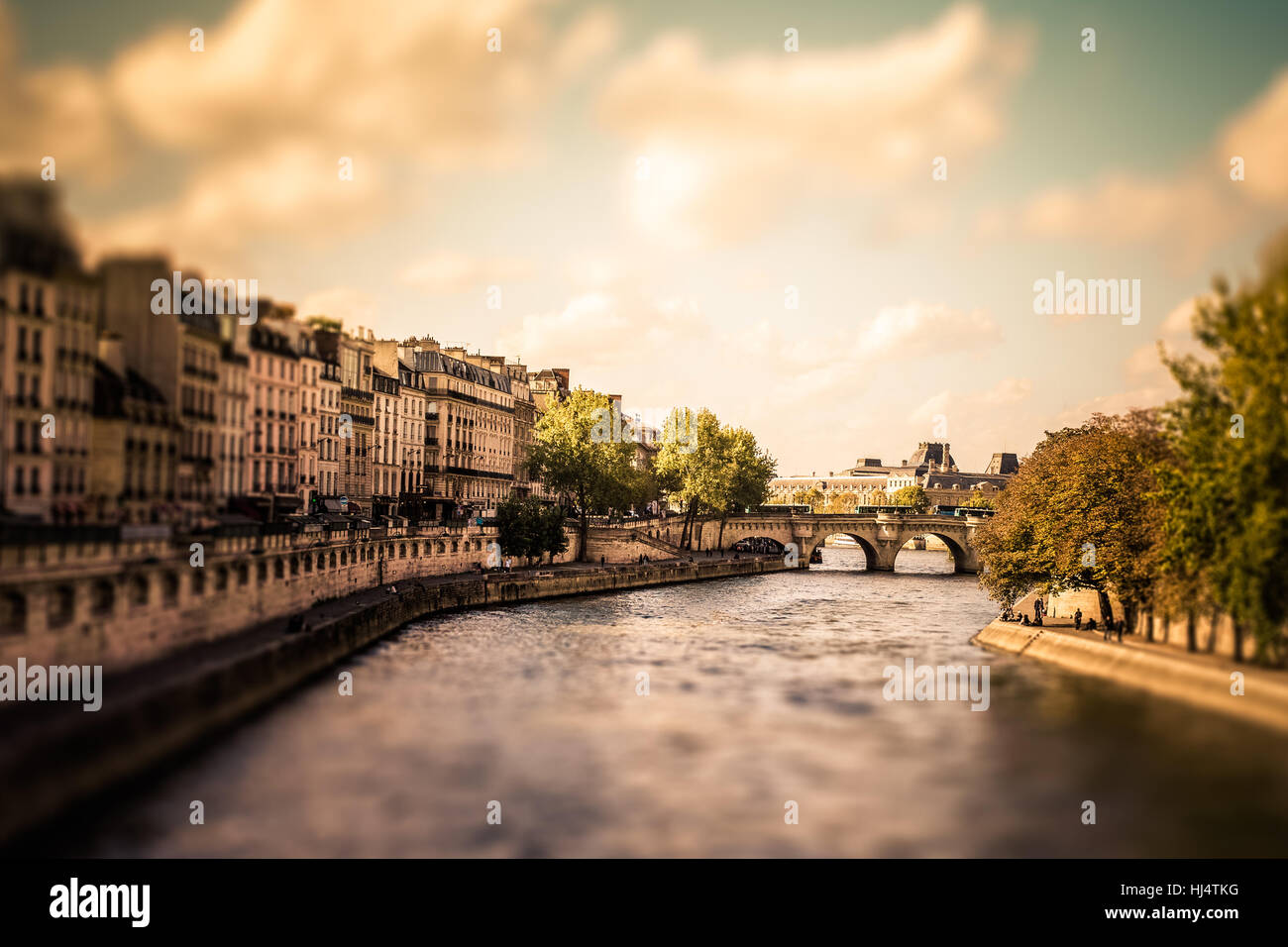 Tilt-shift miniature view of the River Seine from Paris with vintage filter effect - Stock Image