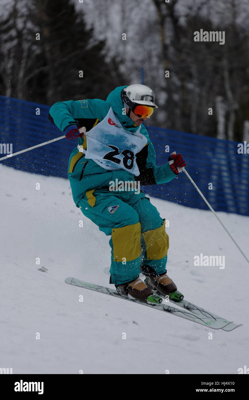 Dmitriy Barmashov (Kaz) competes at the FIS Freestyle Ski World Cup 2017 men's moguls event held at Val Saint - Stock Image