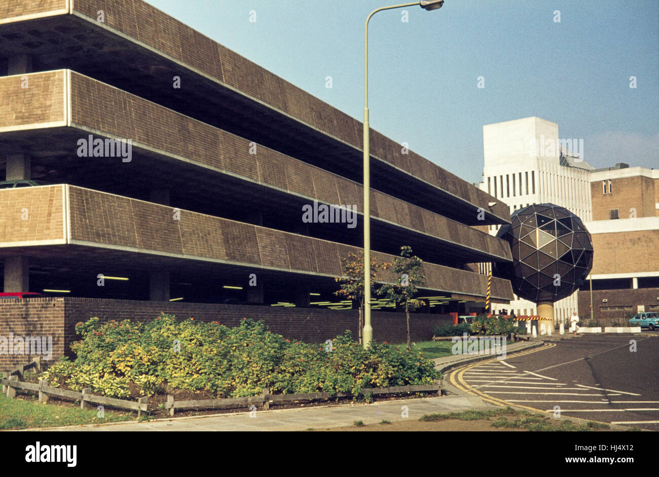 Archive image of Westgate multi-story car park and 'Golf Ball' CCTV camera housing, Oxford, 1978, demolished - Stock Image