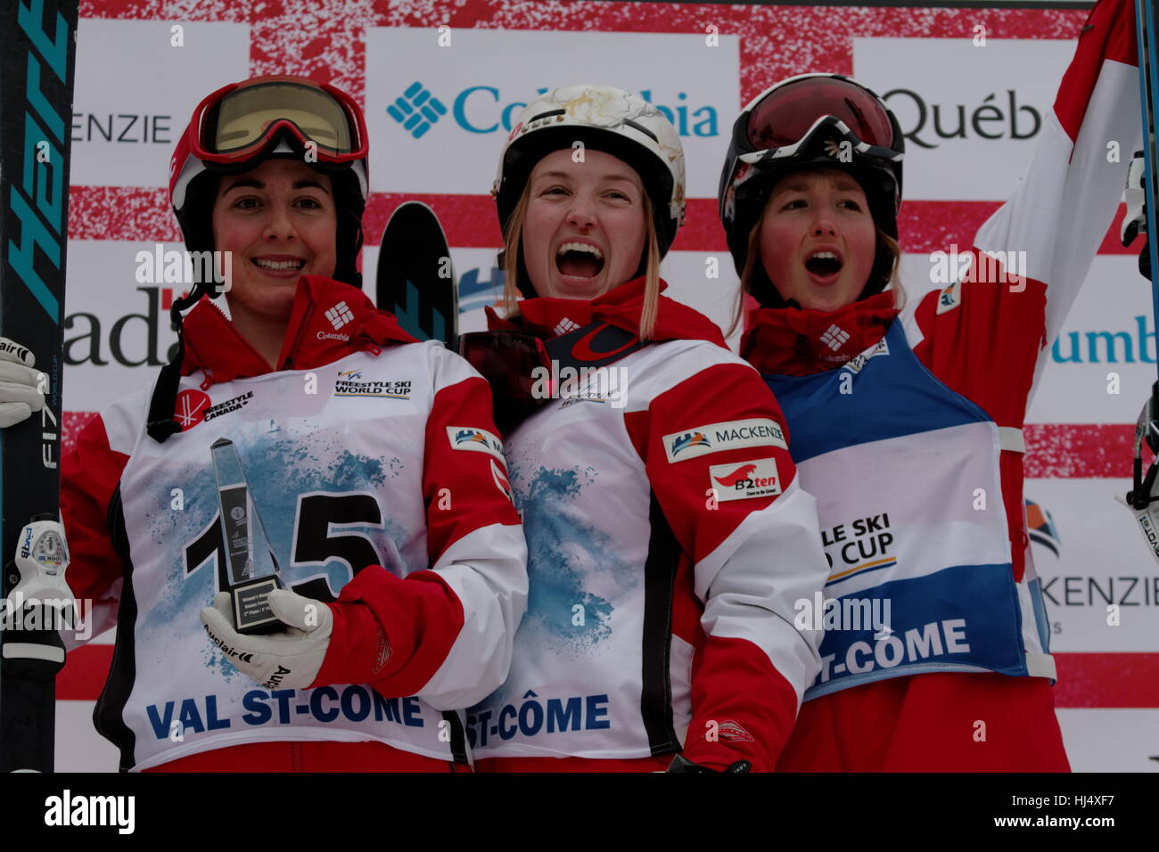An all Canadian podium for the FIS Freestyle Ski world Cup 2017  with Justine Dufour-Lapointe (4) winnig the event, - Stock Image