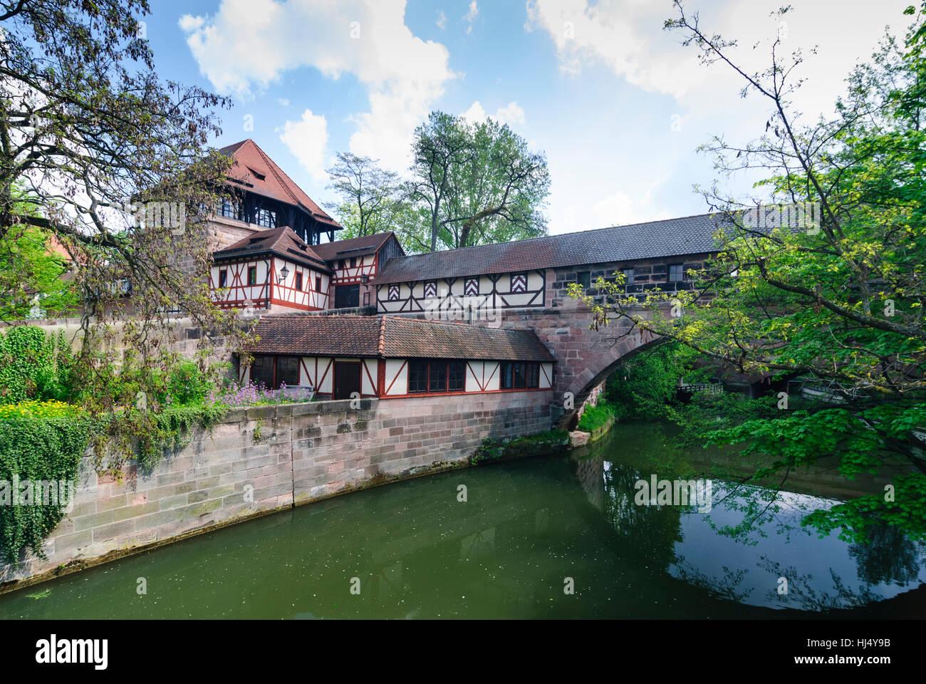 Nürnberg, Nuremberg: old twon, city gate Kasemattentor at river Pegnitz, Mittelfranken, Middle Franconia, Bayern, - Stock Image