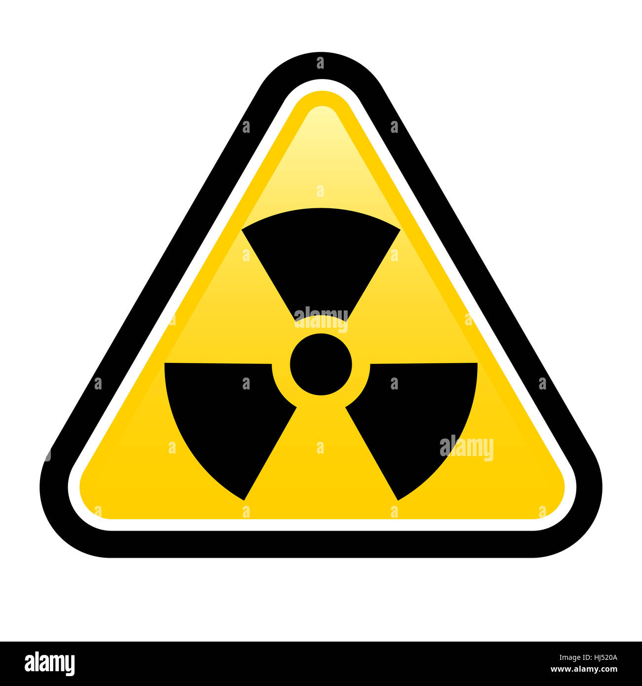 Yellow triangle sign with a radiation symbol on white glossy plane - Stock Image