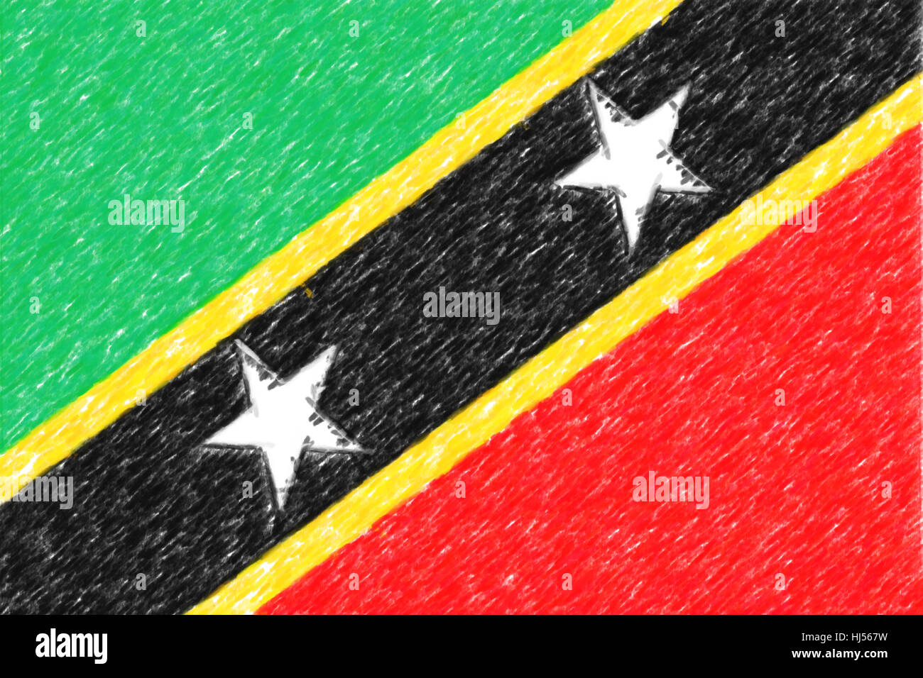 flag of saint kitts nevis background o texture color pencil stock