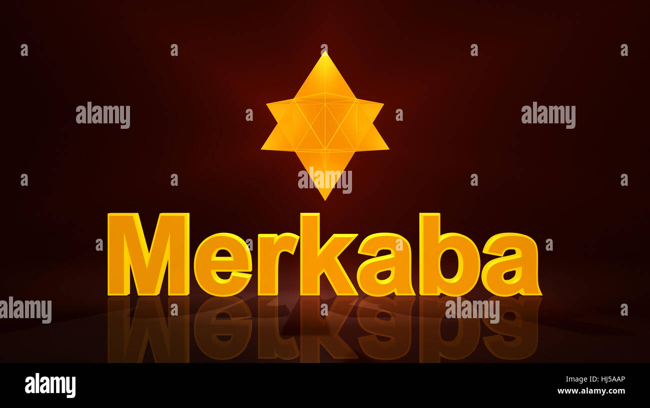 merkaba 3d icon with text - gold - Stock Image