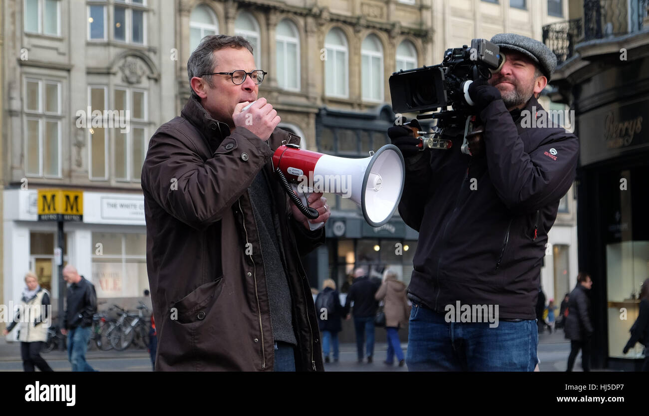 Hugh Fearnley-Whittingstall in Newcastle 21 January 2017 launching the 'Newcastle Can' campaign - Stock Image