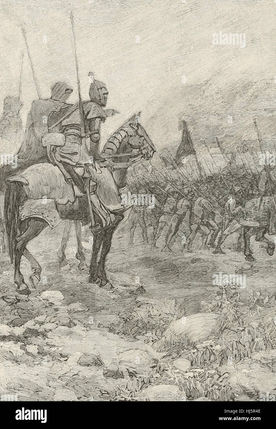 The Three Knights reconnoitiring the Flemings in the Mist - Stock Image