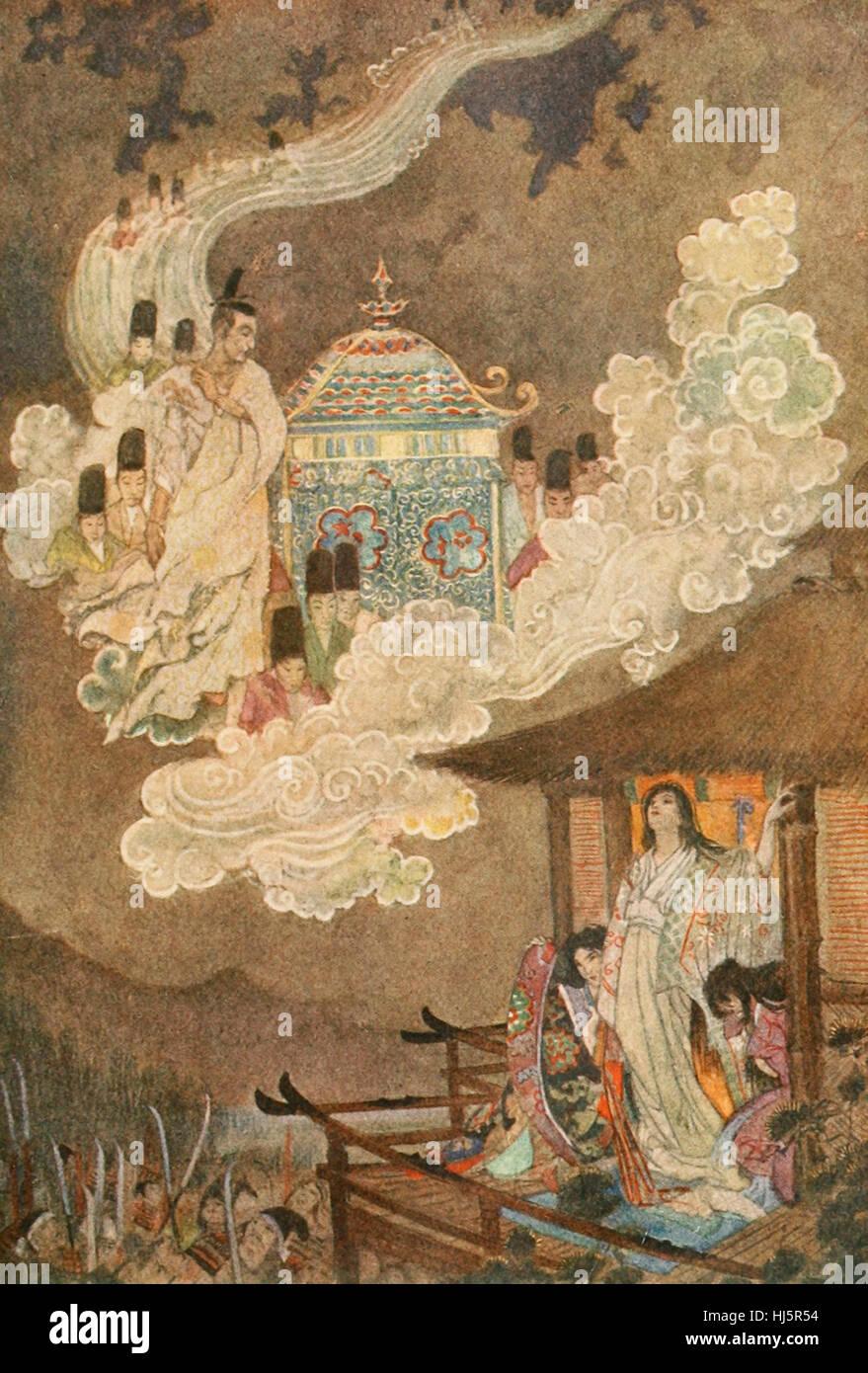 The Moonfolk demand the Lady Kaguya. Japanese Folklore - Stock Image