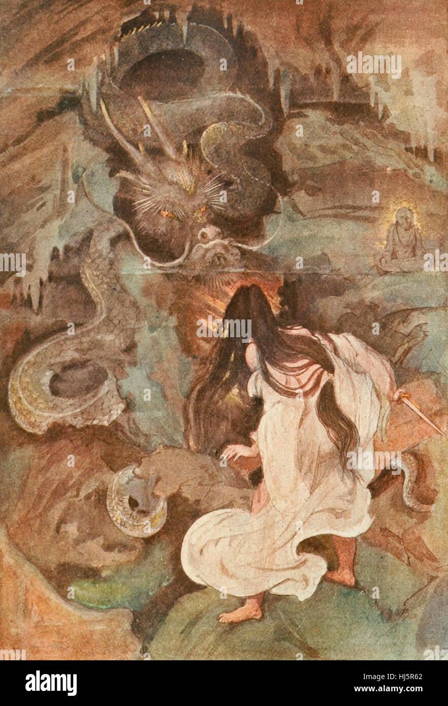 Tokoyo and the Sea Serpent, Japanese Mythology - Stock Image