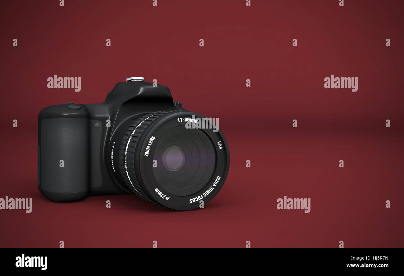 dslr full frame - digital slr black on red Stock Photo: 131664393 ...