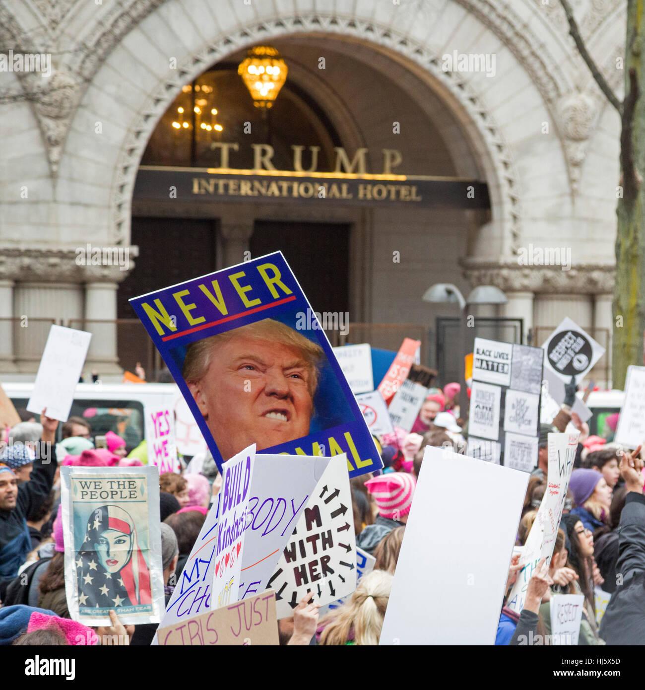 Washington, DC USA - 21 January 2017 - The Women's March on Washington drew an estimated half million to the - Stock Image