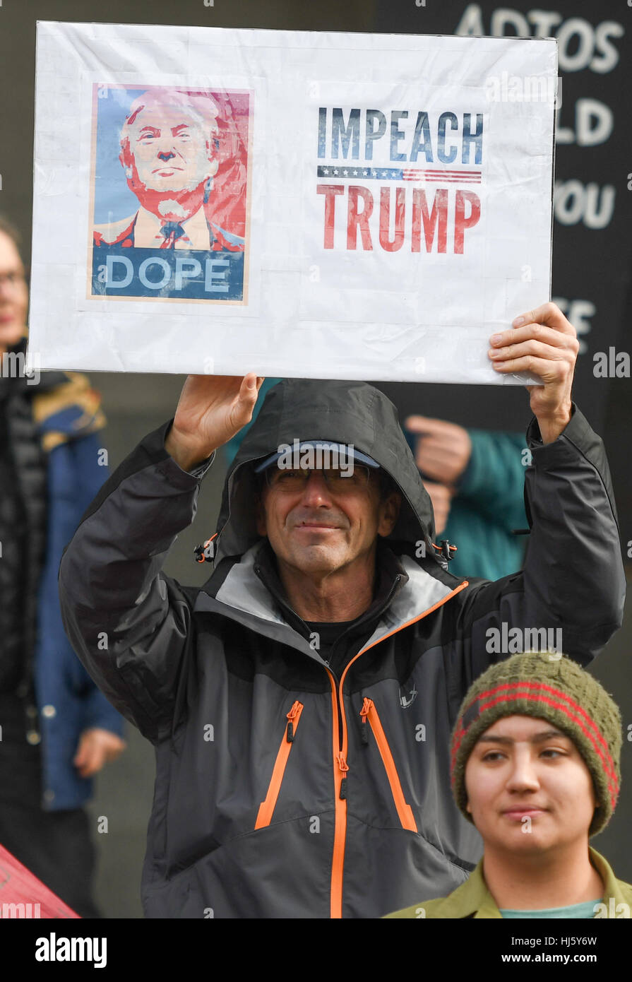 Sacramento, USA. 20th Jan, 2017. A large angry protest against the inauguration of President Donald Trump marched Stock Photo