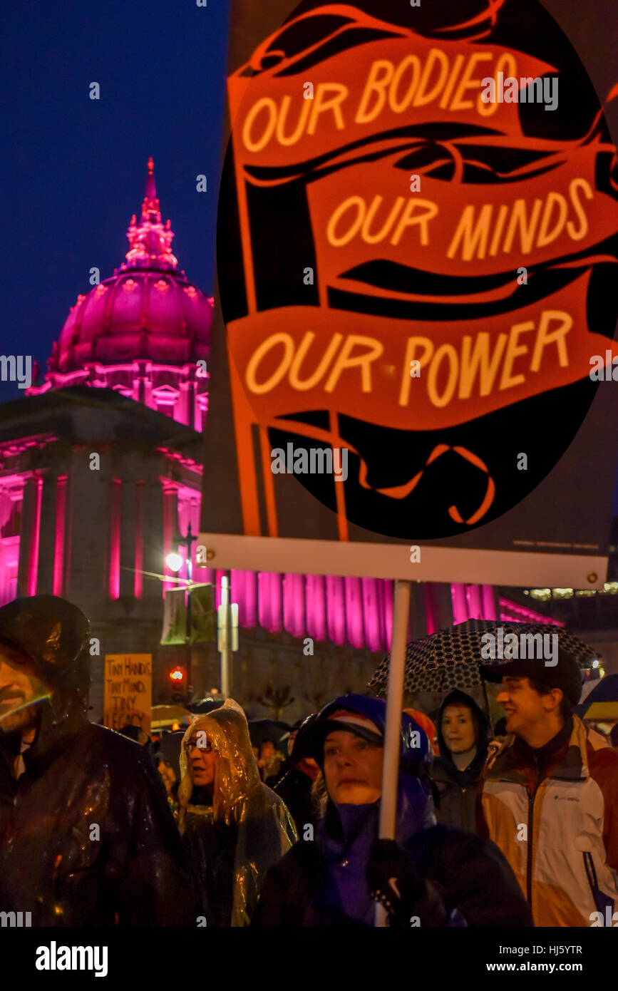 San Francisco, California, USA. 21st January, 2017. San Francisco City Hall evening with marchers and sign, 'our - Stock Image