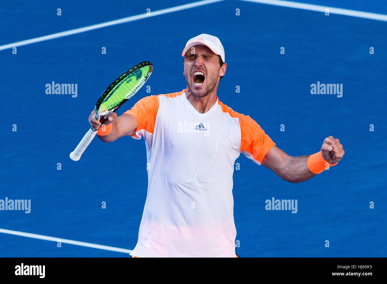 Mischa Zverev of Germany ousts world number one Andy Murray during the 2017 Tennis Australian Open at Melbourne Stock Photo