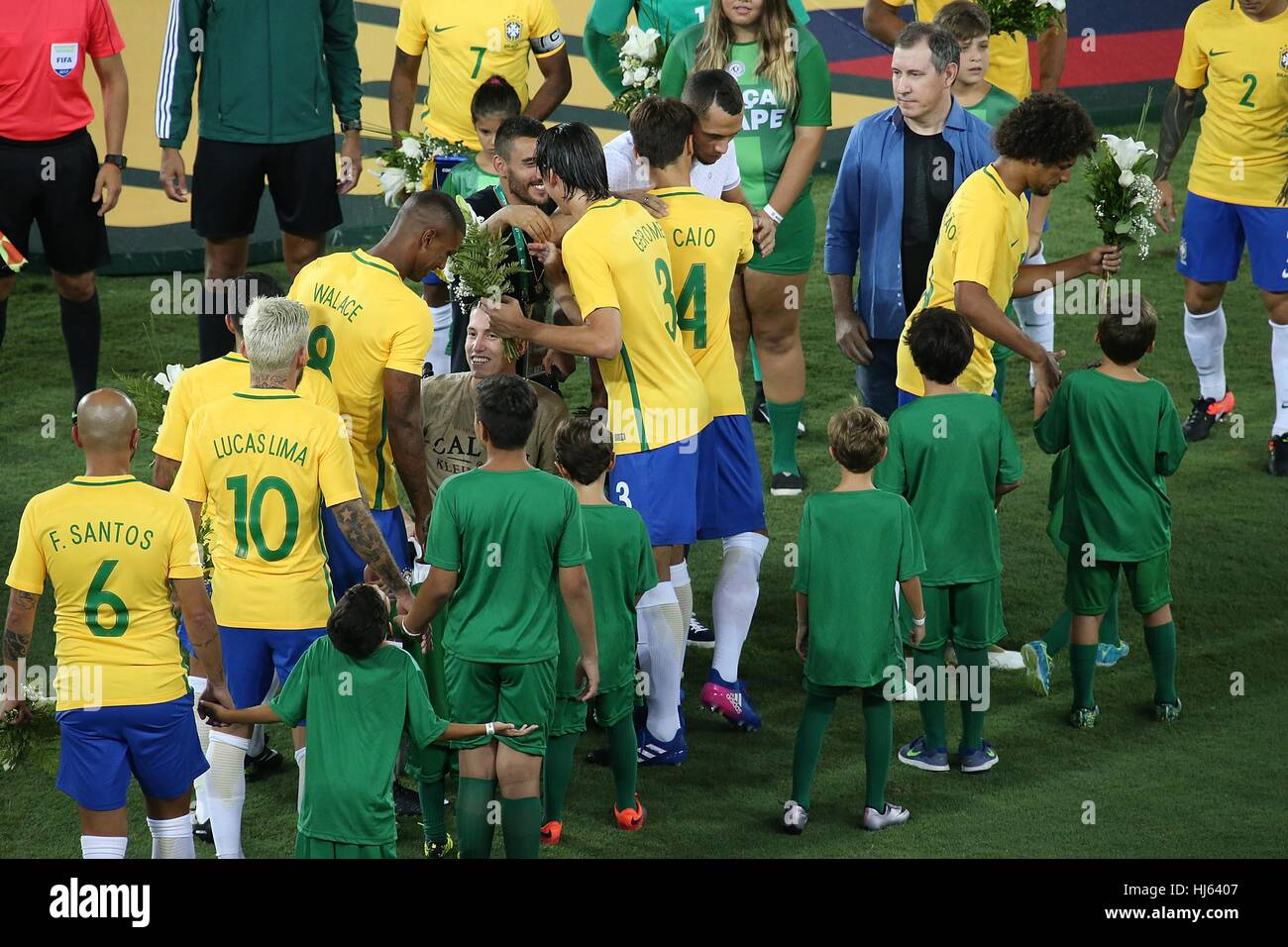 Rio de janeiro brazil 25th jan 2017 brazilian players greet rio de janeiro brazil 25th jan 2017 brazilian players greet chapecoense footballers alan ruschel helio neto and jackson follmann survivors of the m4hsunfo