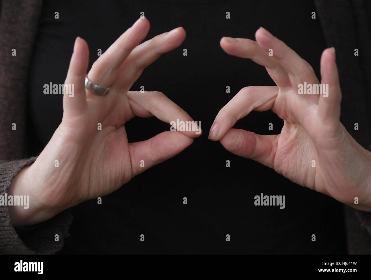 Frankfurt, Germany. 25th Jan, 2017. The sign language interpreter Kathrin-Maren Enders shows the word 'counselling' - Stock Image
