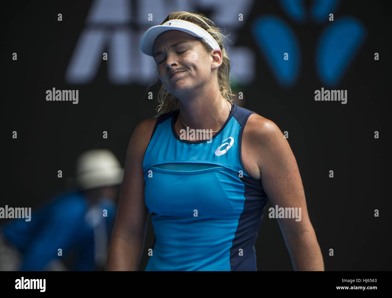 Melbourne, Australia. 26th Jan, 2017. United States' Coco Vandeweghe reacts during the women's singles semifinal - Stock Image