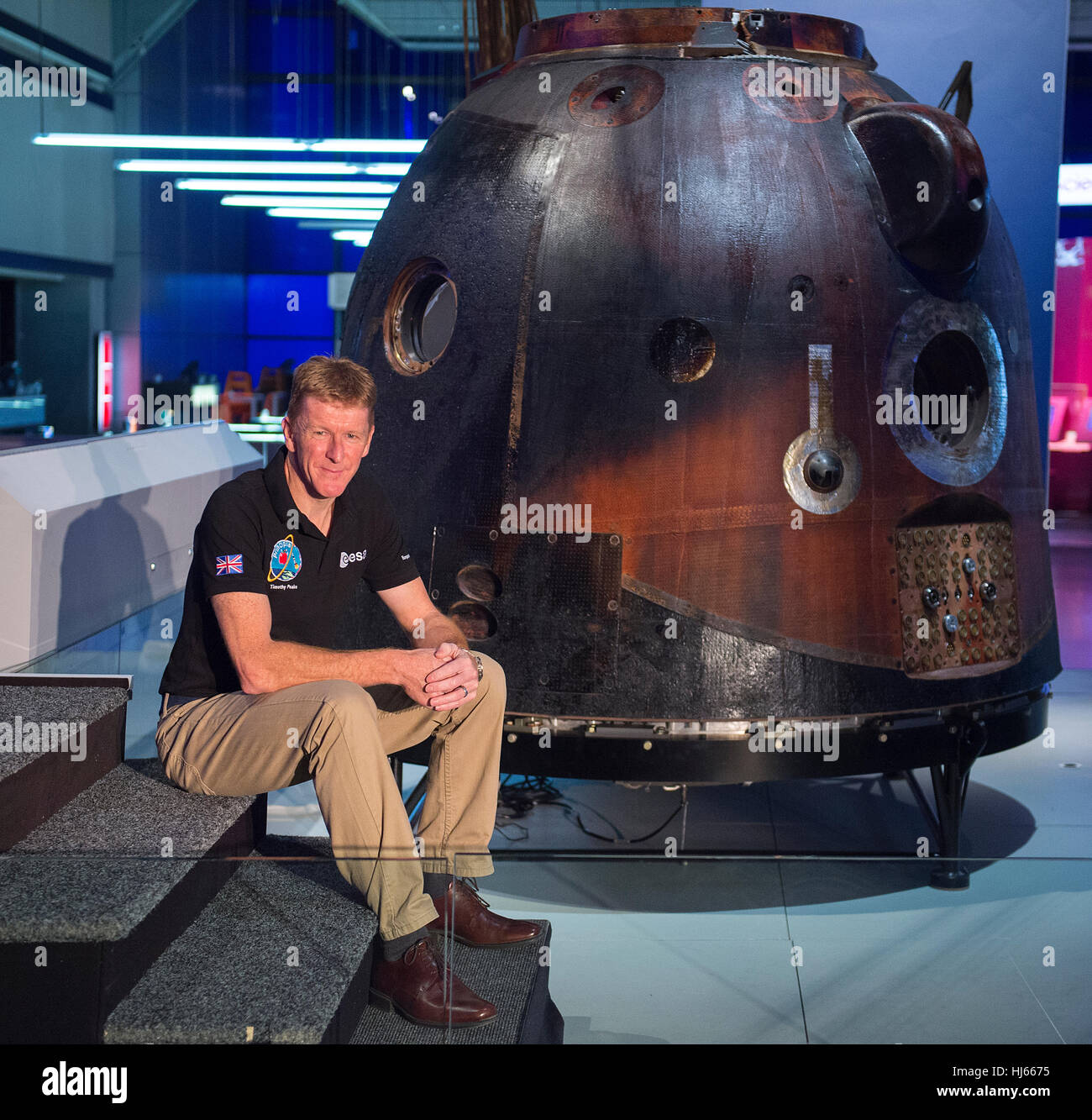 Science Museum, London, UK. 26th January, 2017. Tim Peake's spacecraft - Soyuz TMA-19M  - is now on free public - Stock Image