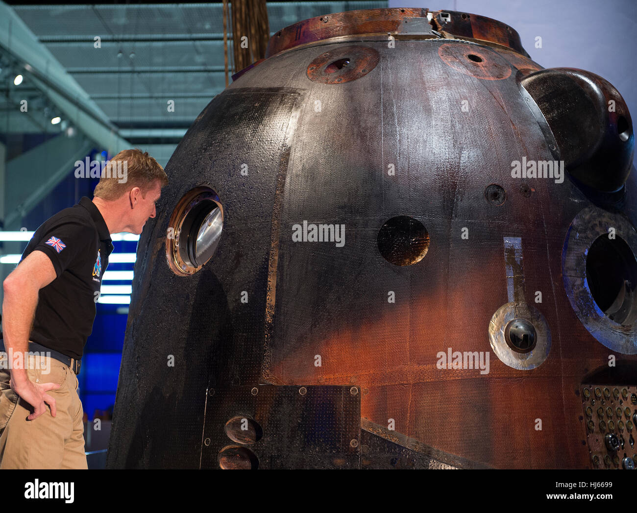 Science Museum, London, UK. 26th January, 2017. Tim Peake's spacecraft - Soyuz TMA-19M  - is now on free public Stock Photo