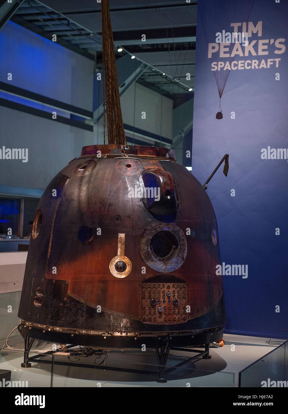 Science Museum, London, UK. 26th January, 2017. Tim Peake's spacecraft - Soyuz TMA-19M - is now on free public - Stock Image