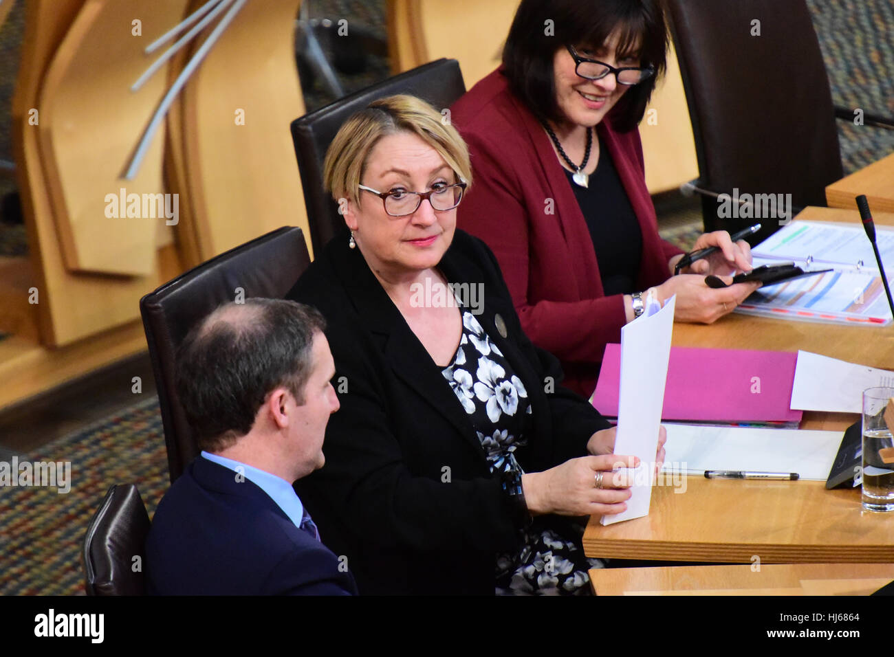 Edinburgh, Scotland, UK. 26th January, 2017. Annabelle Ewing, Minister for Community Safety and Legal Affairs, prepares - Stock Image