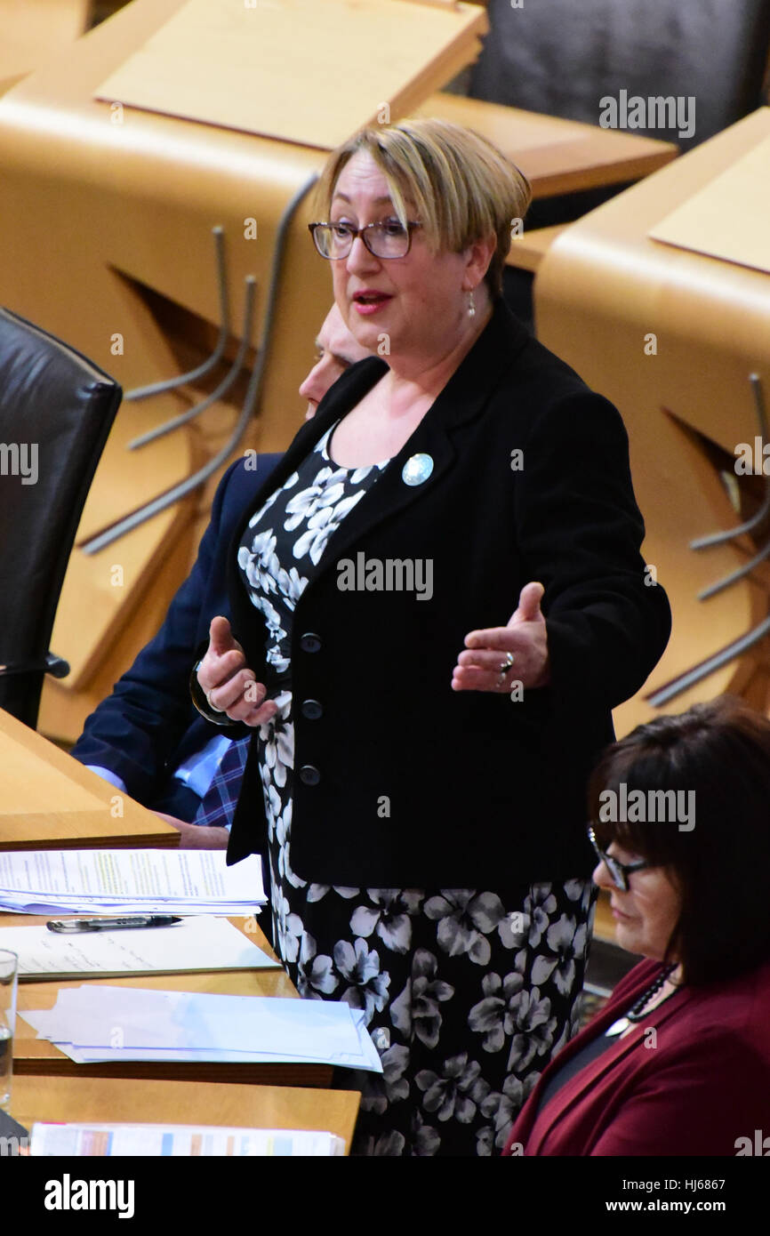 Edinburgh, Scotland, UK. 26th January, 2017. Annabelle Ewing, Minister for Community Safety and Legal Affairs, makes - Stock Image