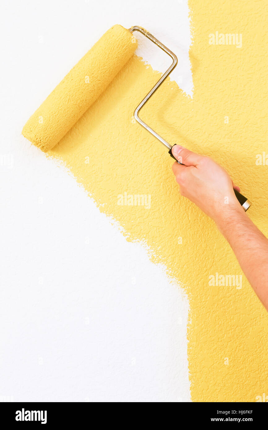 house, building, hand, colour, painting, wall, paint, roller, yellow ...