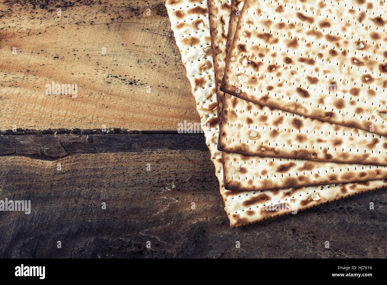 Jewish matza on Passover - Stock Image